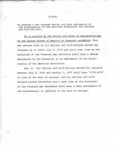 A 1973 bill to provide a new coinage design emblematic of the bicentennial of the American Revolution. Full text is duplicated in the body of this page.