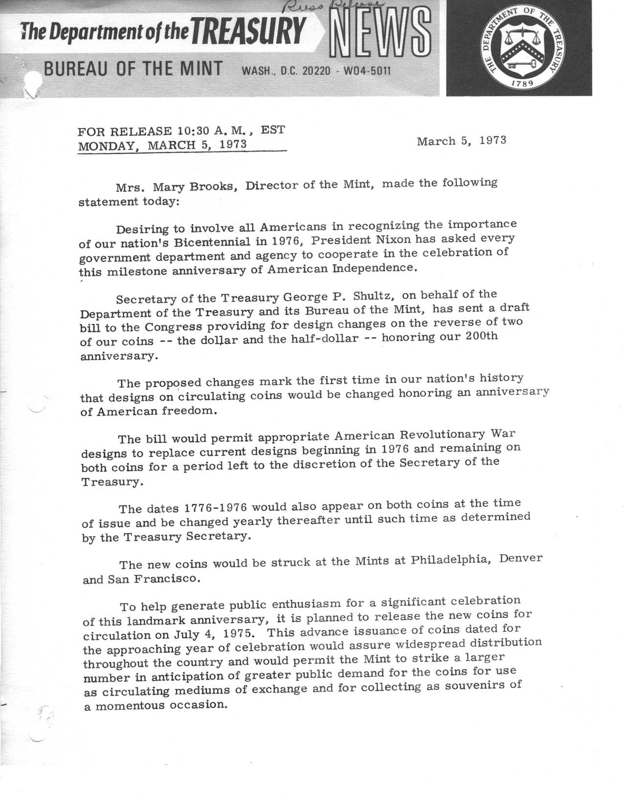 Historic Press Release: Brooks' Statement on National Bicentennial Coins, Page 1