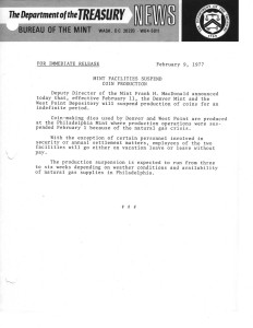 Mint Facilities Suspend Coin Production, February 9, 1977. Full text is duplicated in the body of this page.