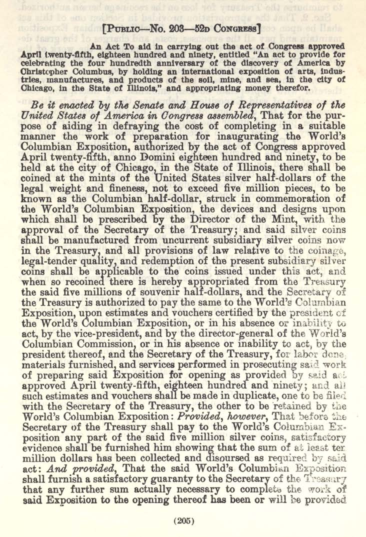 Historic Legislation: Columbian Exposition Coin Act, Page 1
