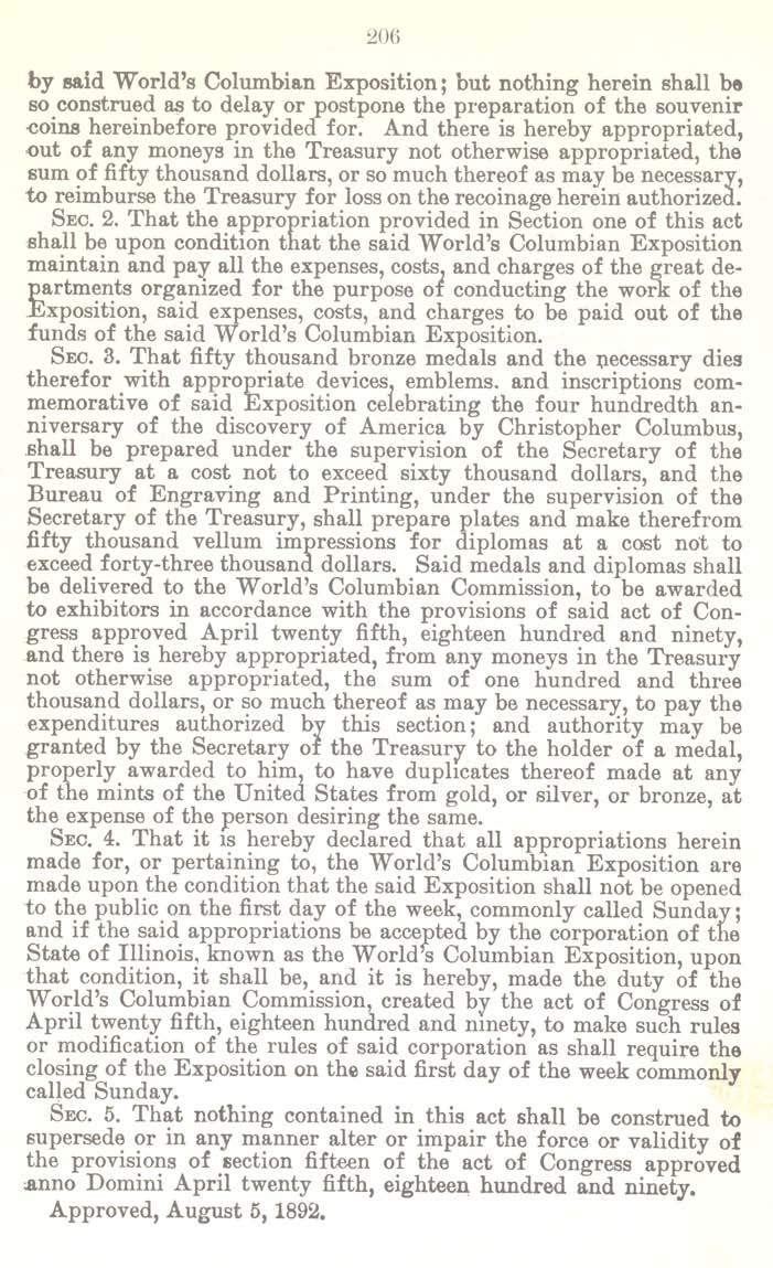 Historic Legislation: Columbian Exposition Coin Act, Page 2