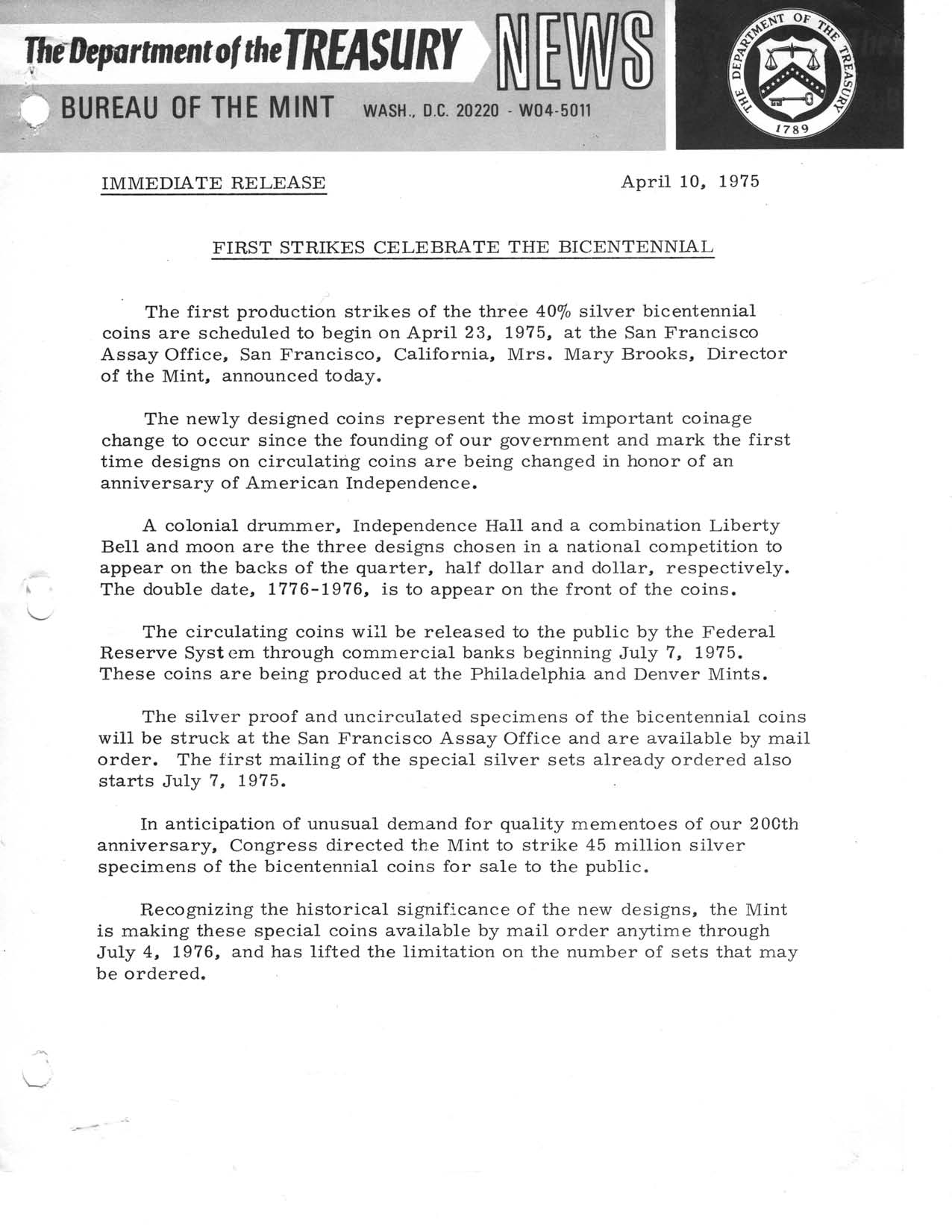 Historic Press Release: First Strikes Bicentennial, Page 1