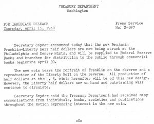 Historic Press Release, April 15, 1948. Full text is duplicated in the body of this page.