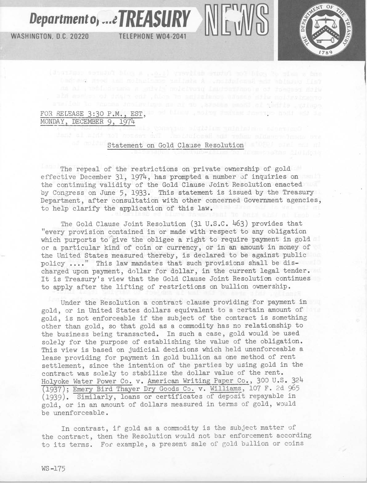 Historic Press Release: Gold Clause Resolution Statement, Page 1