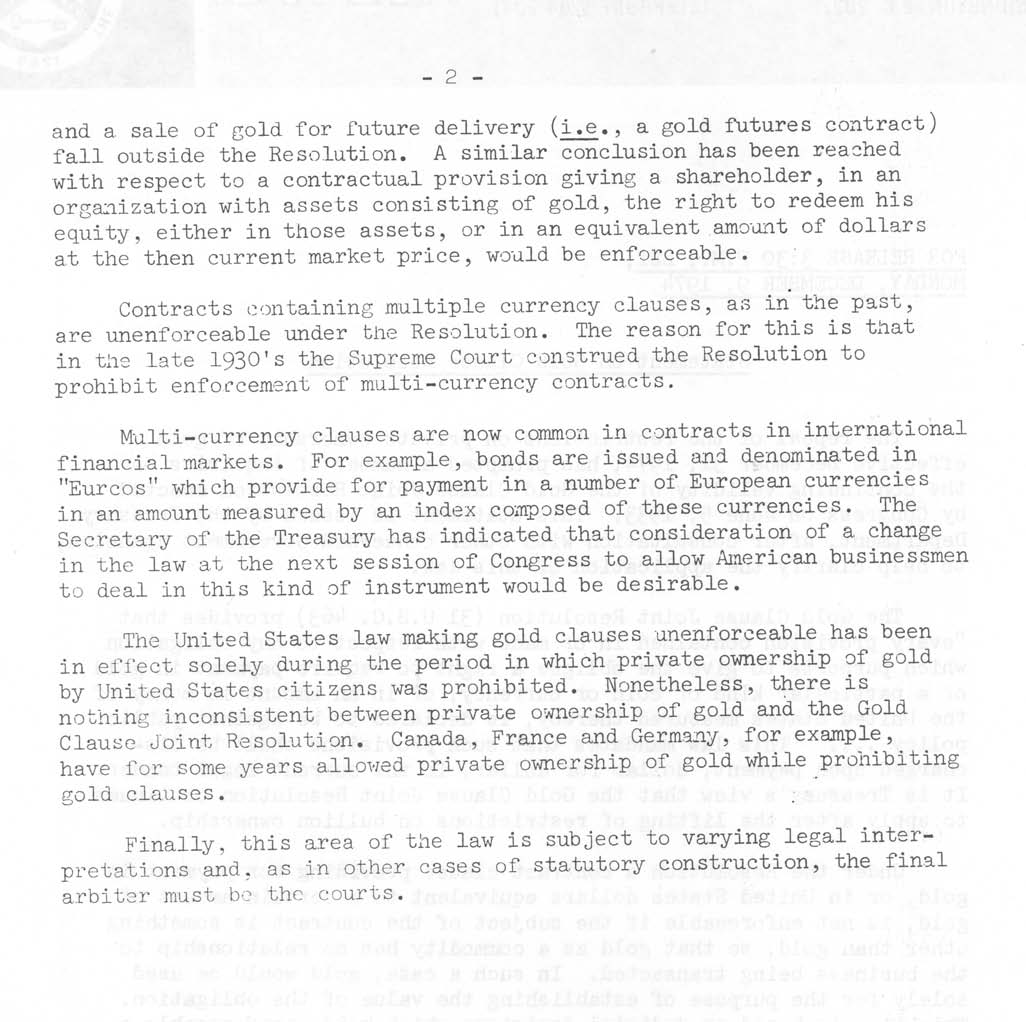 Historic Press Release: Gold Clause Resolution Statement, Page 2
