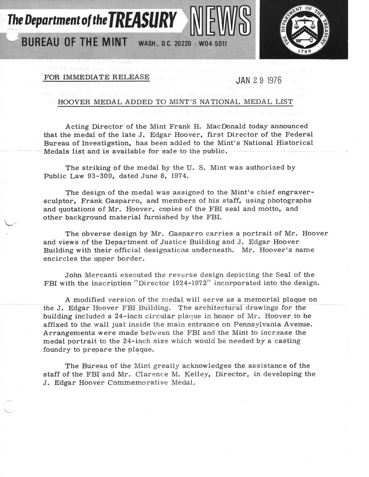 Historic Press Release: Hoover Medal on Medal List, Page 1