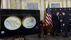 U.S. Mint Principle Deputy Director Rhett Jeppson shakes hands with Secretary of the Treasury Jacob Lew