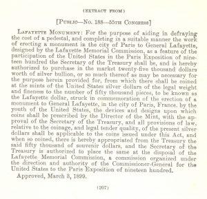 Historic legislation, March 3, 1899.