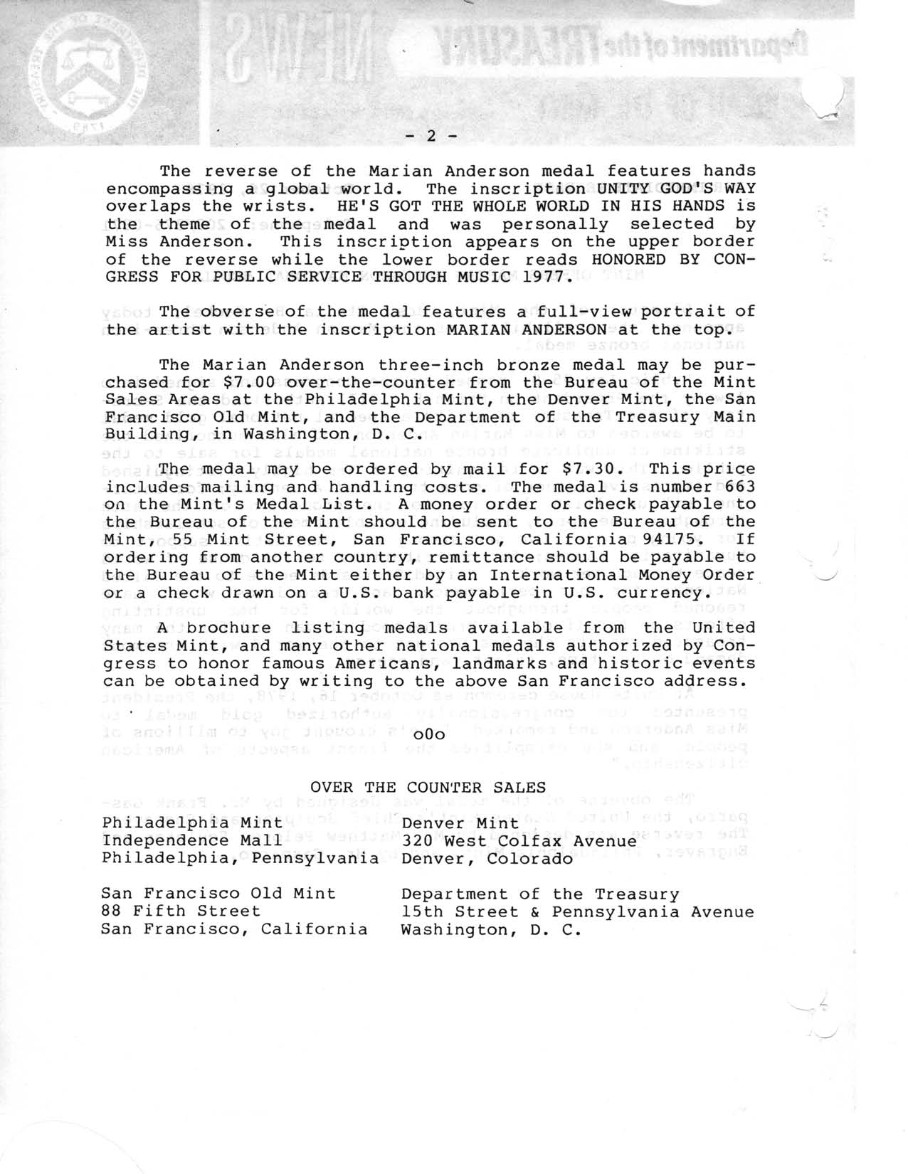 Historic Press Release: Marian Anderson National Medal, Page 2