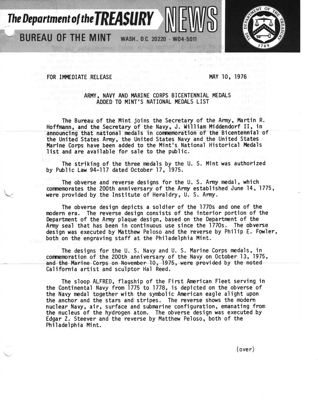 Historic Press Release: Military Medals on Medal List, Page 1