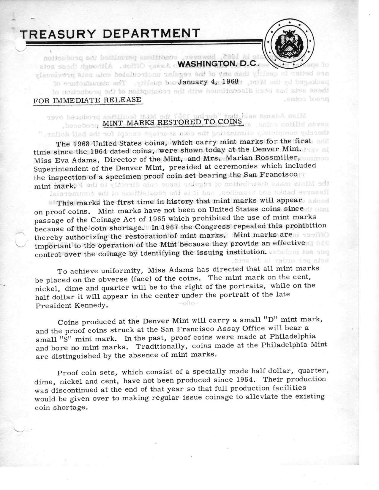 Historic Press Release: Mint Marks Restored, Page 1