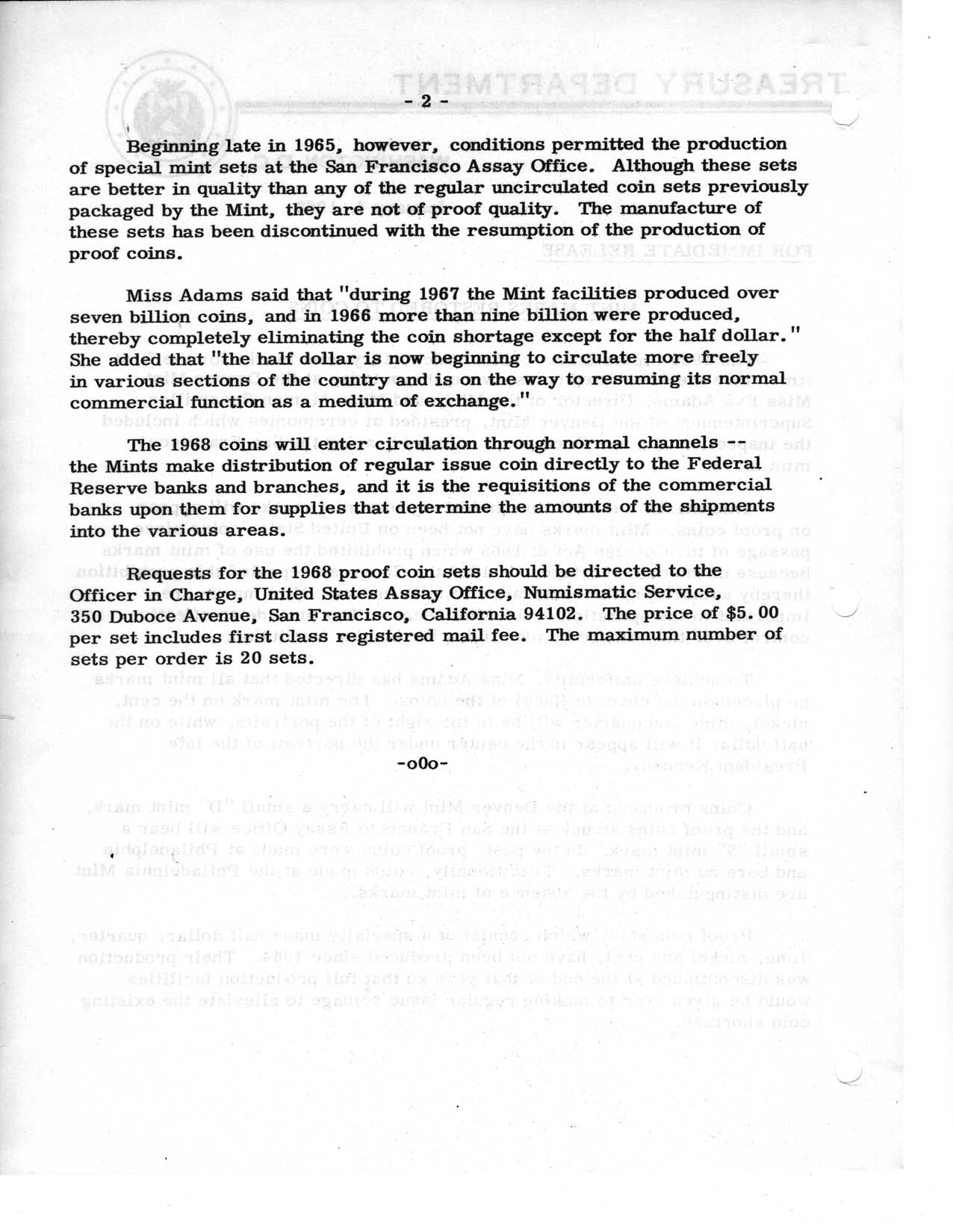 Historic Press Release: Mint Marks Restored, Page 2