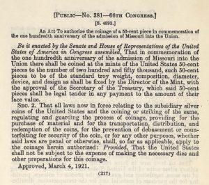 Historic legislation, March 4, 1921.