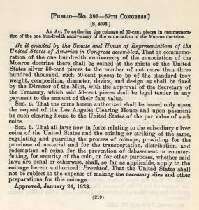 Historic legislation, January 24, 1923. Full text is duplicated in the body of this page.