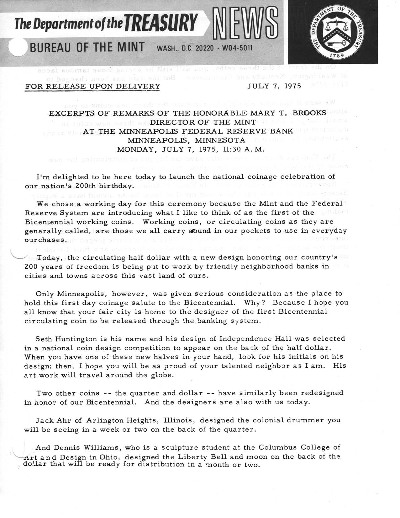 Historic Press Release: National Coinage Celebration, Page 1