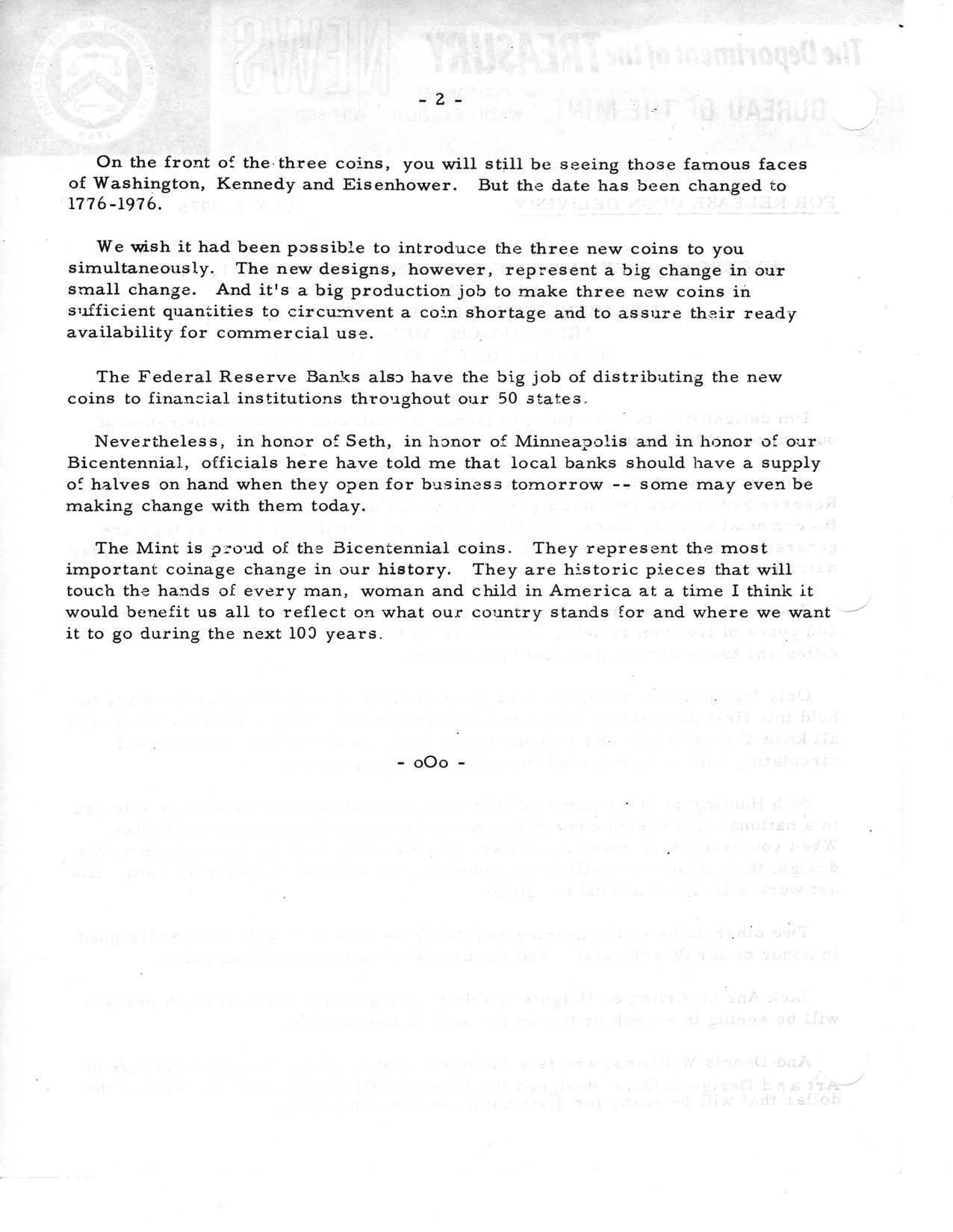 Historic Press Release: National Coinage Celebration, Page 2
