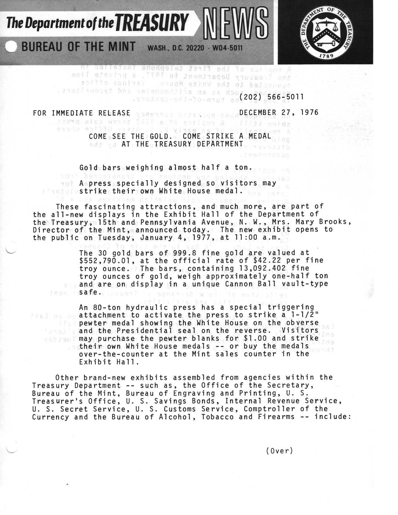 Historic Press Release: New Treasury Exhibit Displays, Page 1