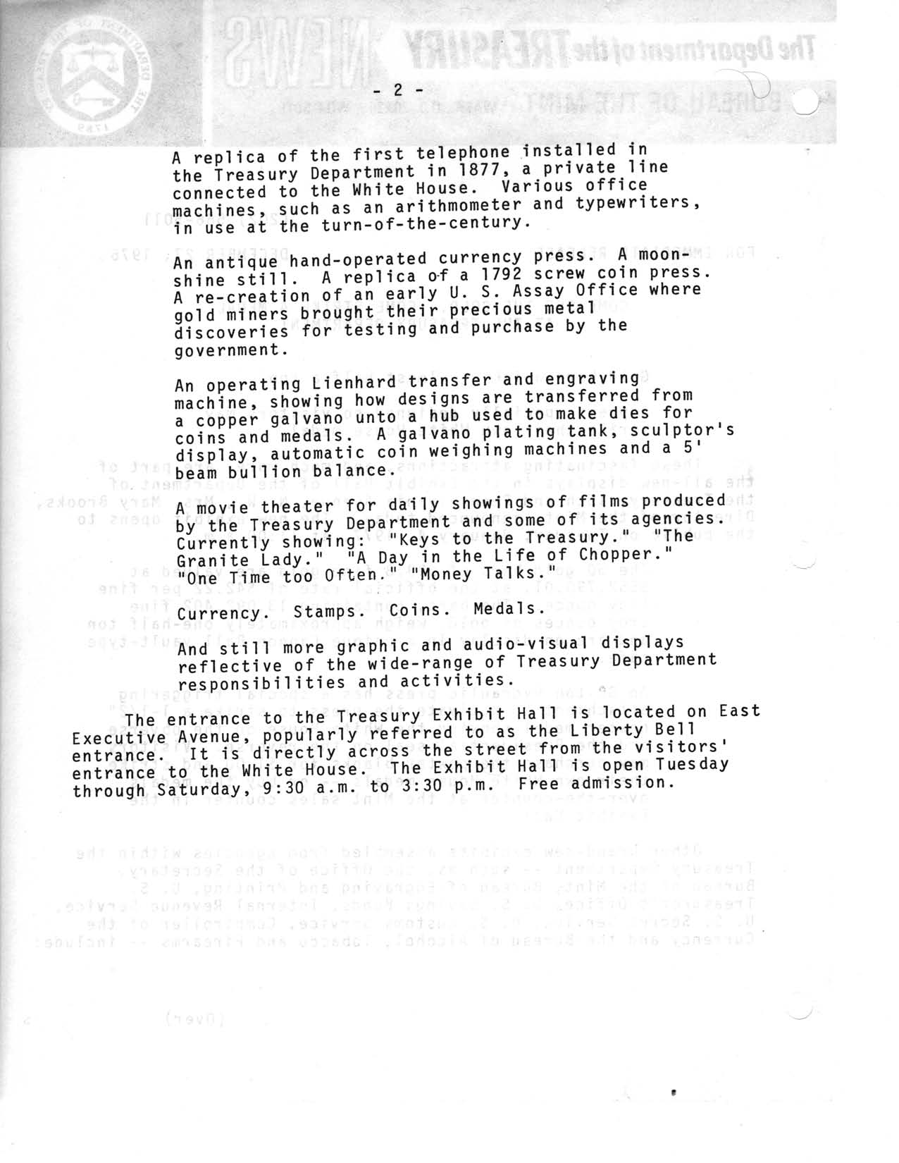Historic Press Release: New Treasury Exhibit Displays, Page 2