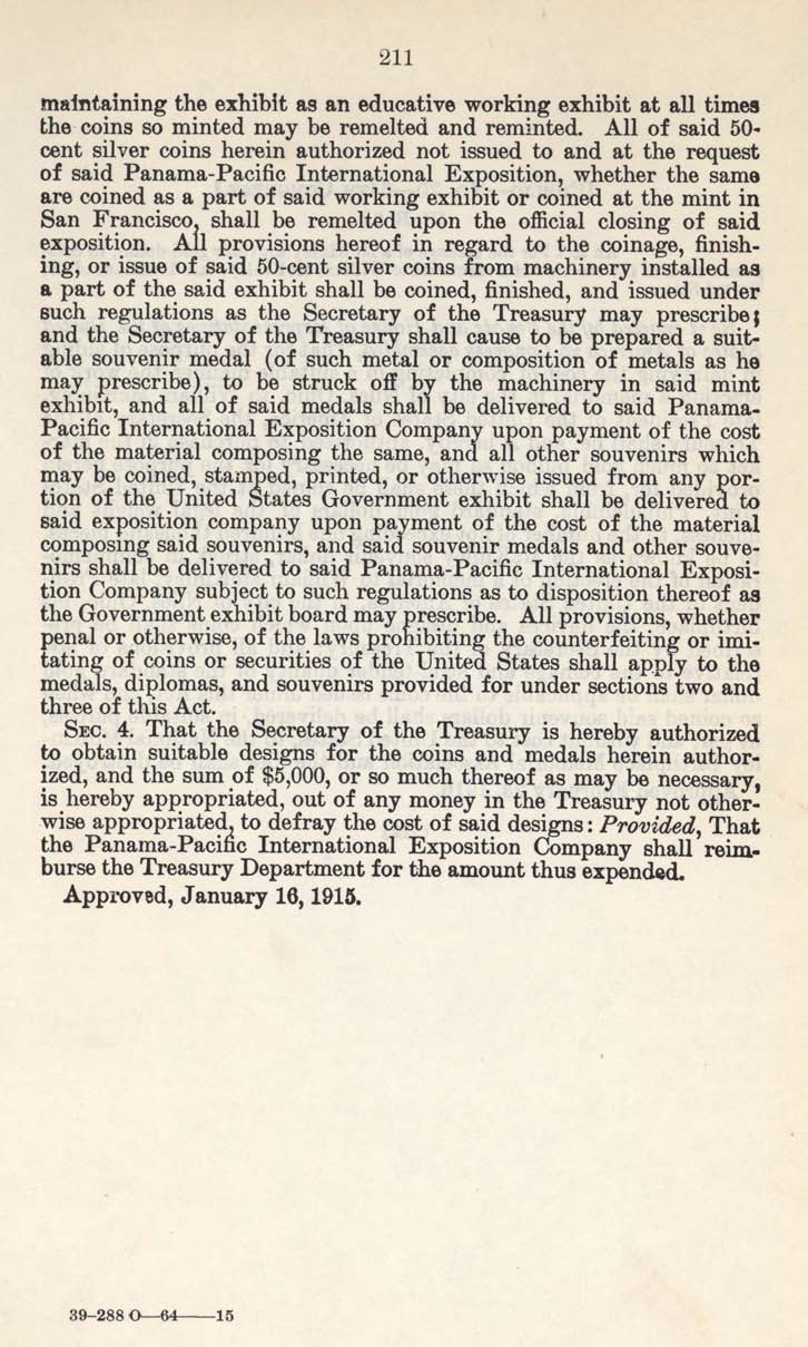 Historic Legislation: Panama Pacific Exposition Coin Act, Page 2