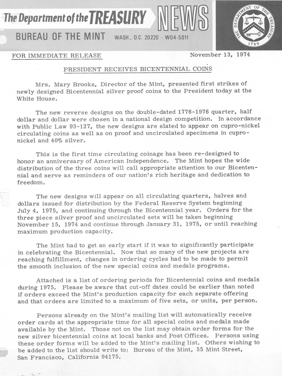 Historic Press Release: President Receives Bicentennial Coins, Page 1