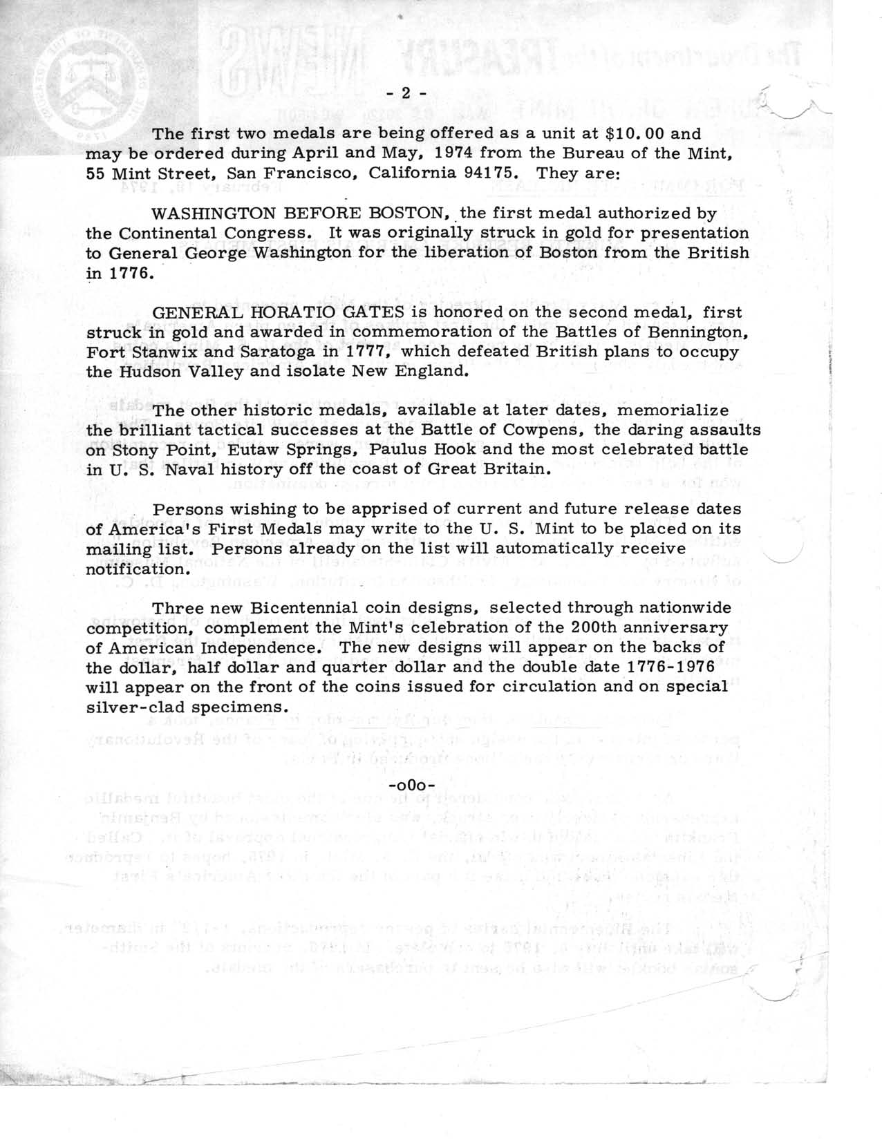 Historic Press Release: Restrike of America's First Medals, Page 2