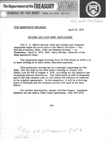 Moving Day for Mint Employees, April 10, 1973. Full text is duplicated in the body of this page.