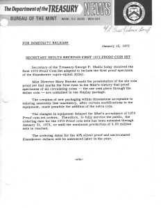 Secretary Shultz Receives First 1973 Proof Coin Set, January 12, 1973. Full text is duplicated in the body of this page.