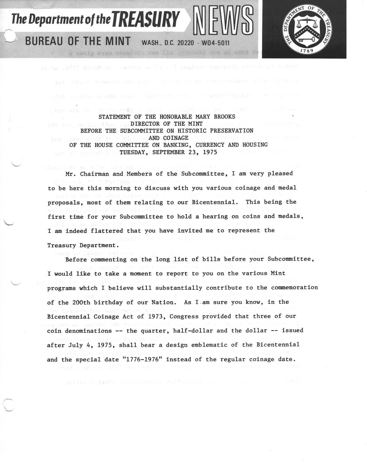 Historic Press Release: Statement Before Subcommittee on Coinage, Page 1