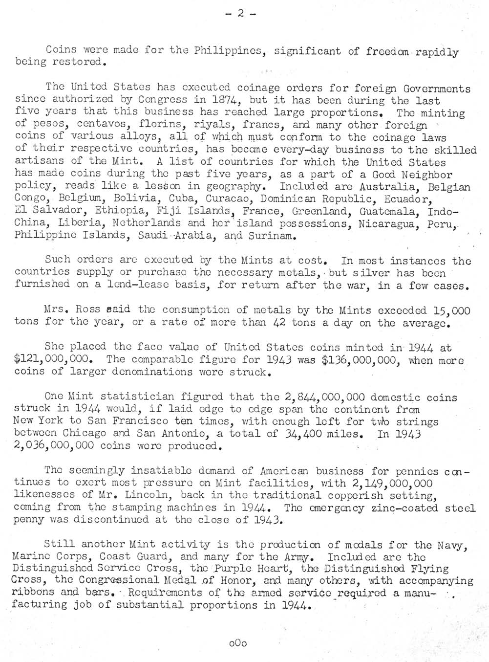 Historic Press Release: Wartime Contribution to Foreign Coinage, Page 2