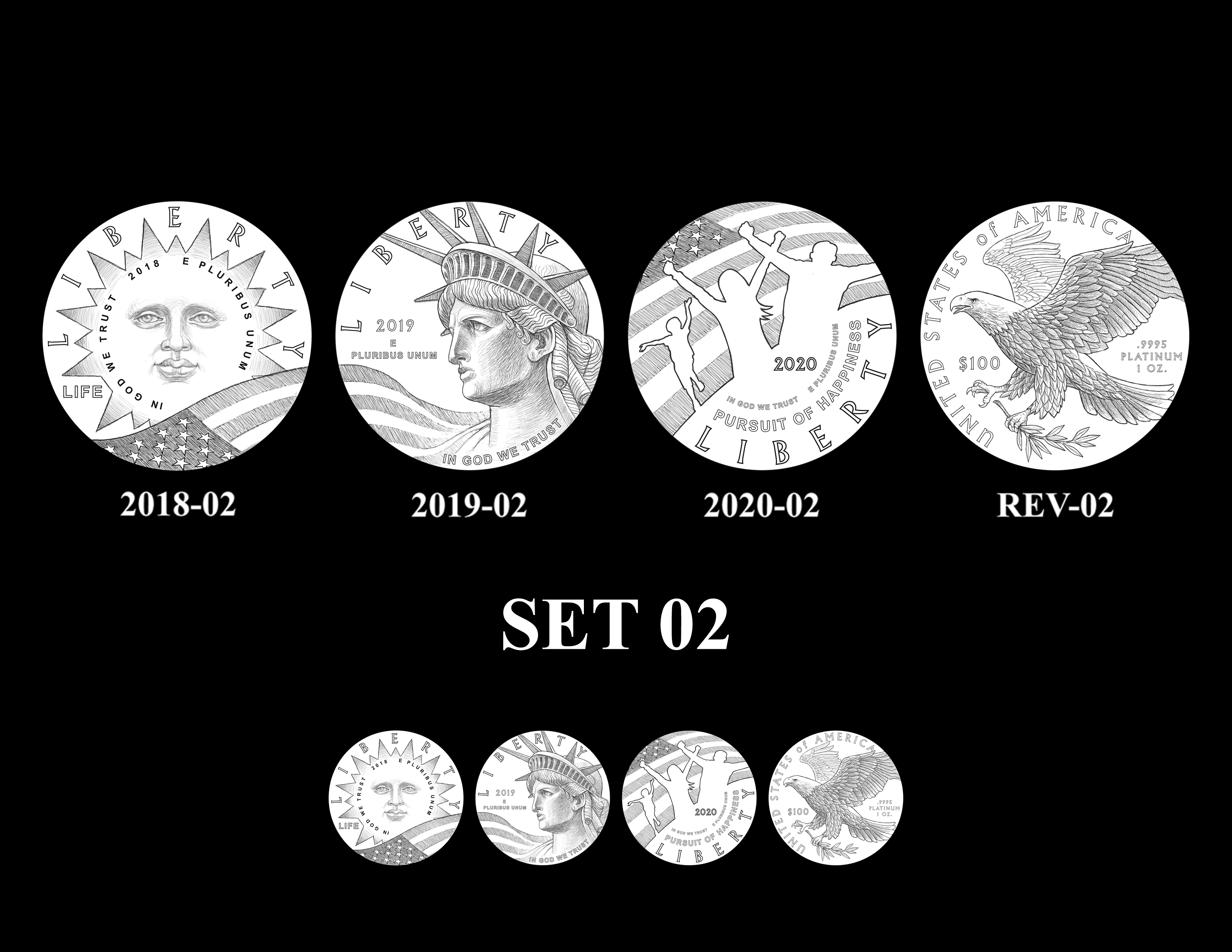SET 02 - 2018 2019 and 2020 American Eagle Platinum Proof Program