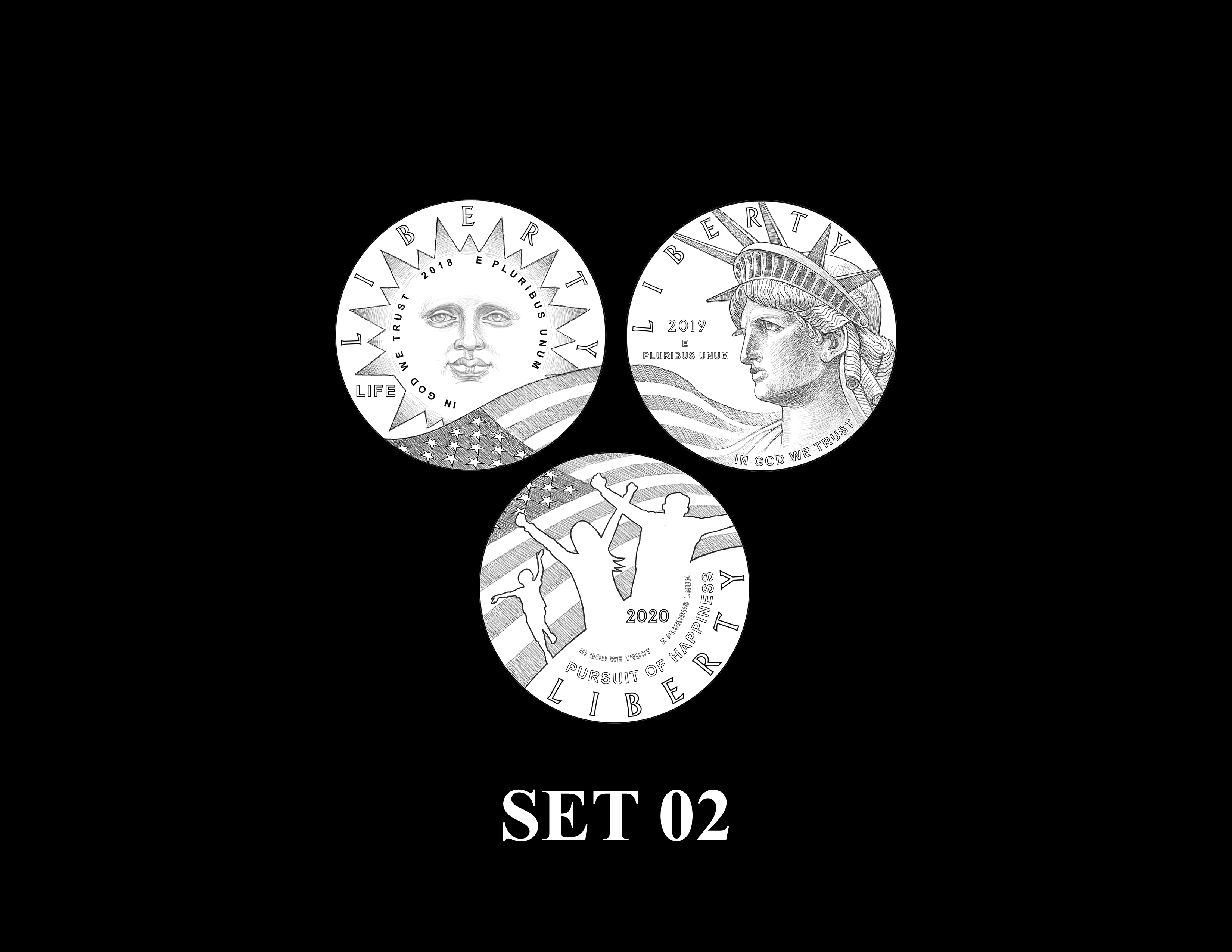 SET 02a - 2018 2019 and 2020 American Eagle Platinum Proof Program