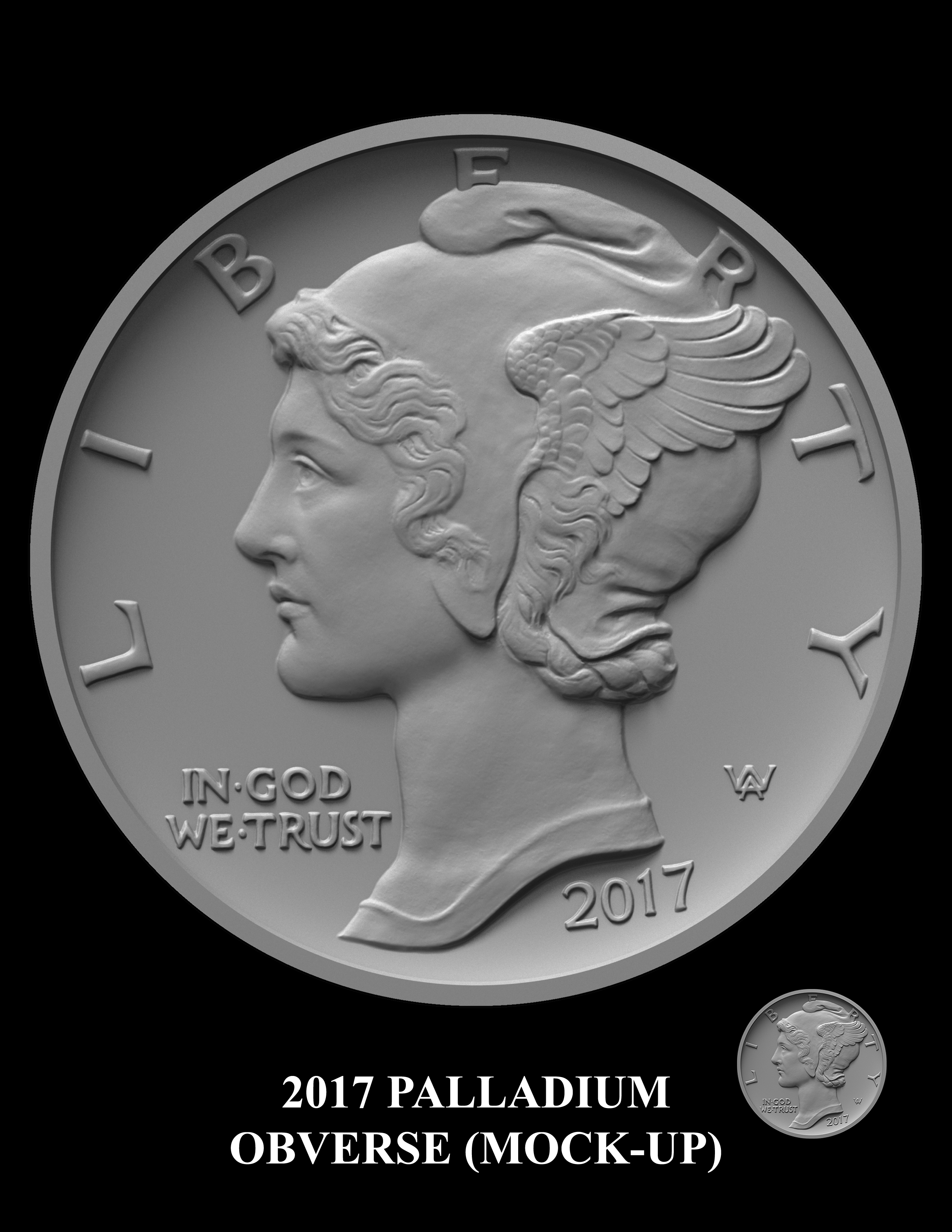 2017-Palladium-Obverse-Mock-up -- 2017 American Eagle Palladium Bullion Coin