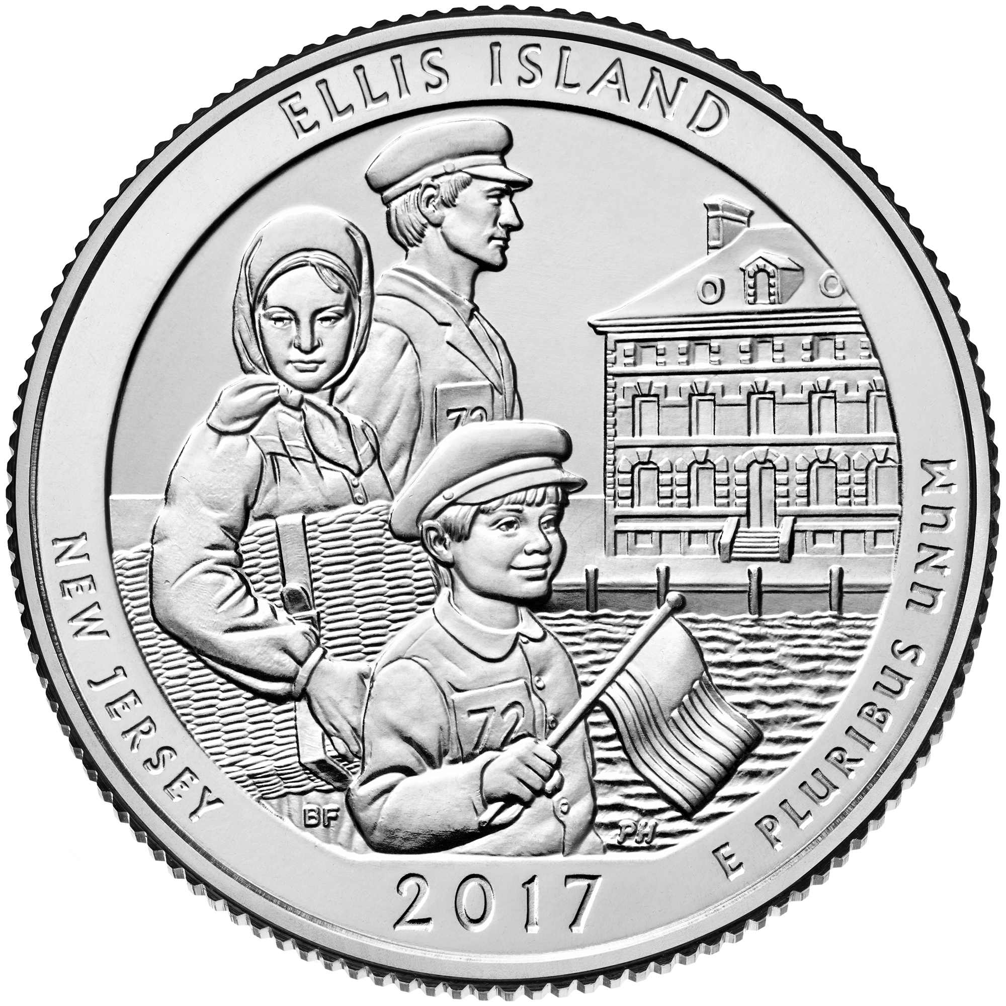 2017 America the Beautiful Quarters Coin Ellis Island New Jersey Uncirculated Reverse