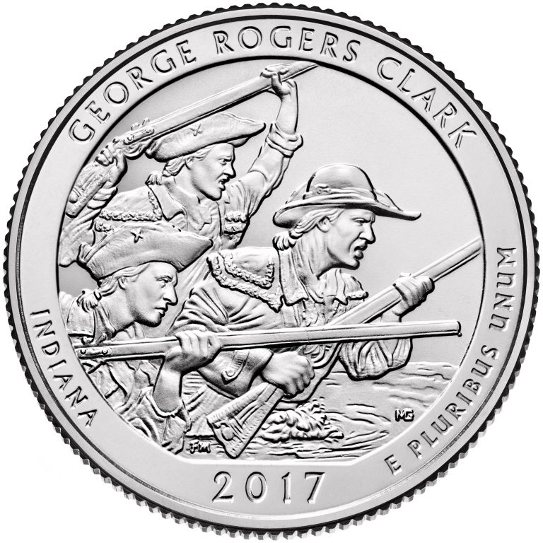 2017 America the Beautiful Quarters Coin George Rogers Clark Indiana Uncirculated Reverse