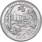 2017 America the Beautiful Quarters Coin Ozark Riverways Missouri Uncirculated Reverse