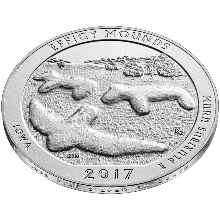 2017 America the Beautiful Quarters Five Ounce Silver Uncirculated Coin Effigy Mounds Iowa Reverse Angle