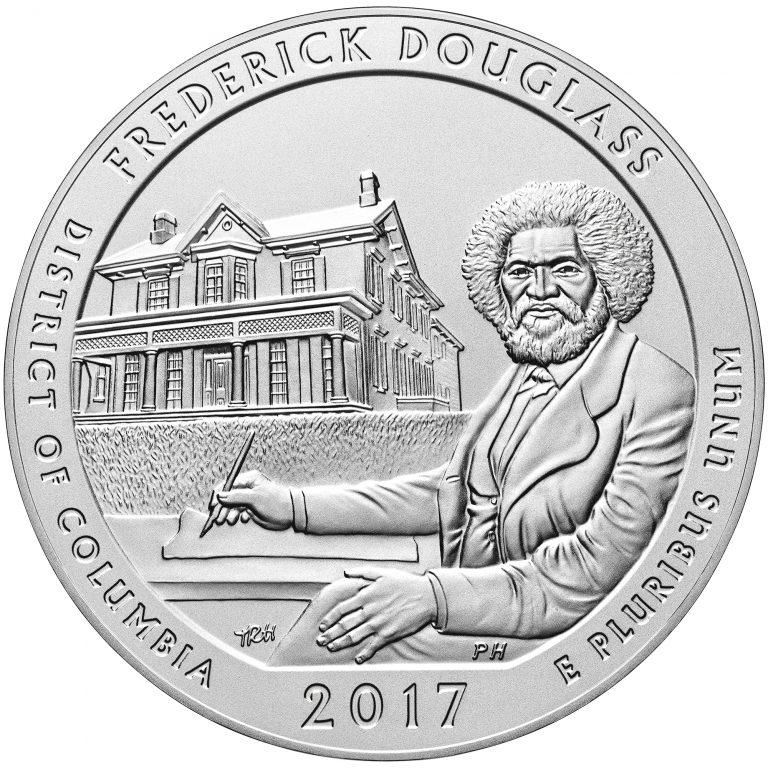 2017 America the Beautiful Quarters Five Ounce Silver Uncirculated Coin Frederick Douglass District of Columbia Reverse