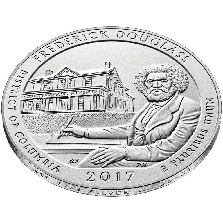 2017 America the Beautiful Quarters Five Ounce Silver Uncirculated Coin Frederick Douglass District of Columbia Reverse Angle