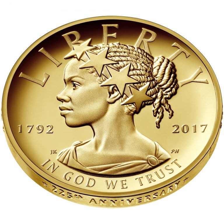2017 American Liberty 225th Anniversary Gold Coin Obverse Med Low Angle