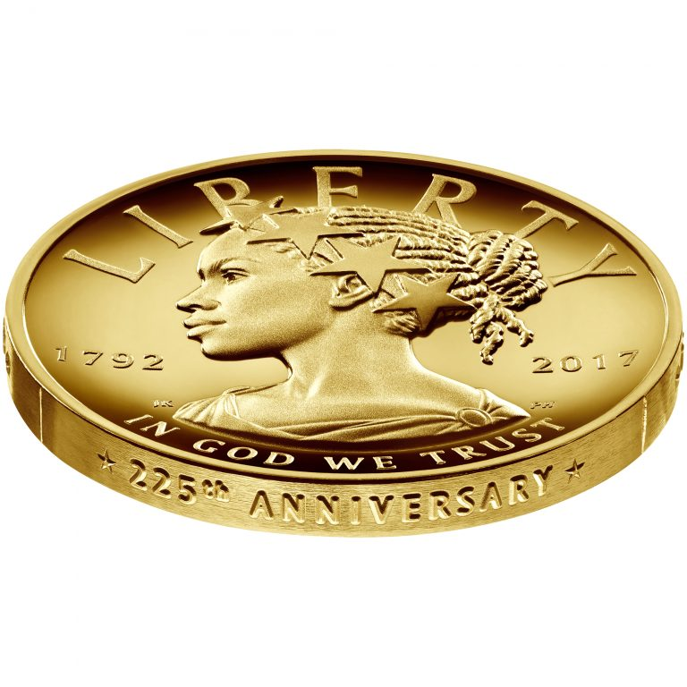 2017 American Liberty 225th Anniversary Gold Coin Obverse Very Low Angle