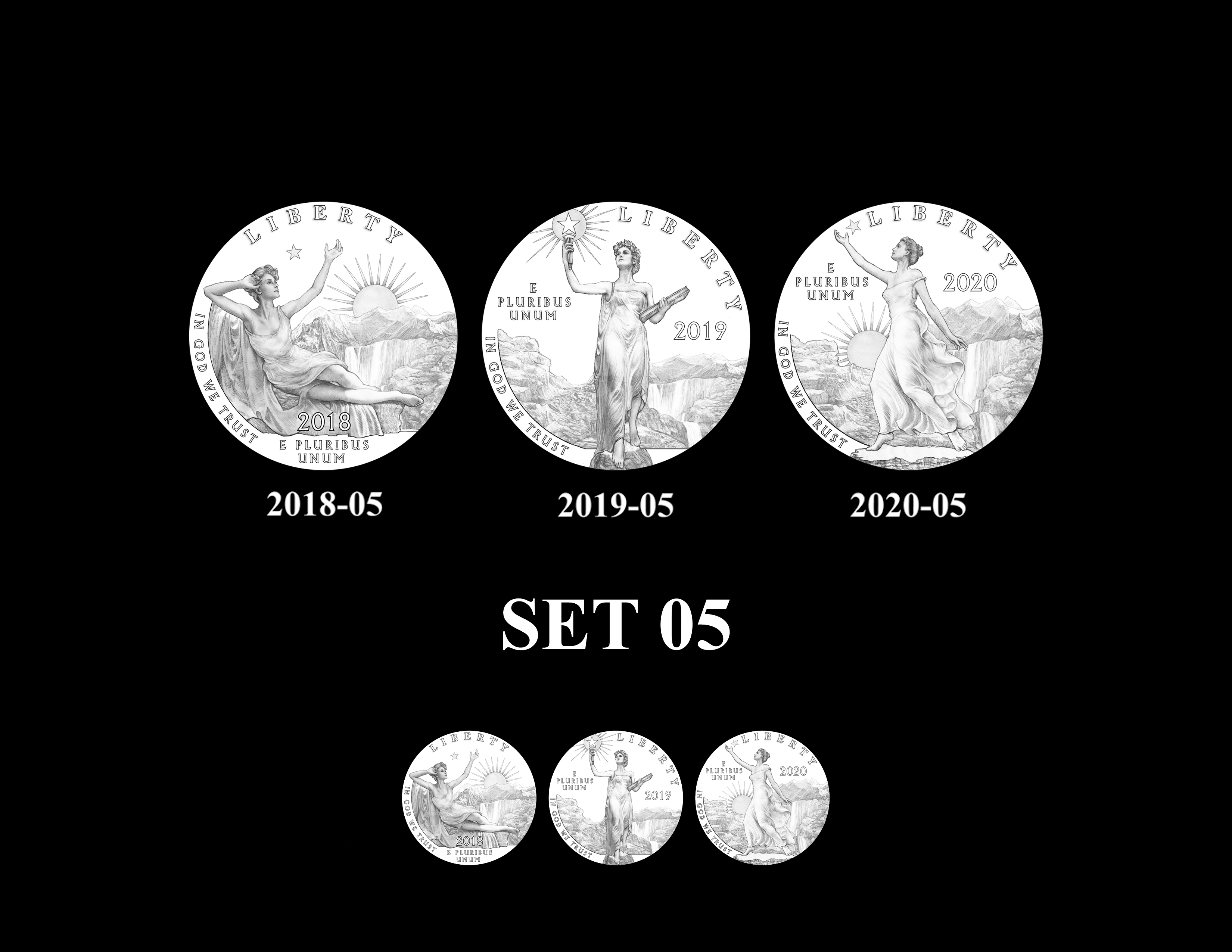 SET 05 - 2018 2019 and 2020 American Eagle Platinum Proof Program