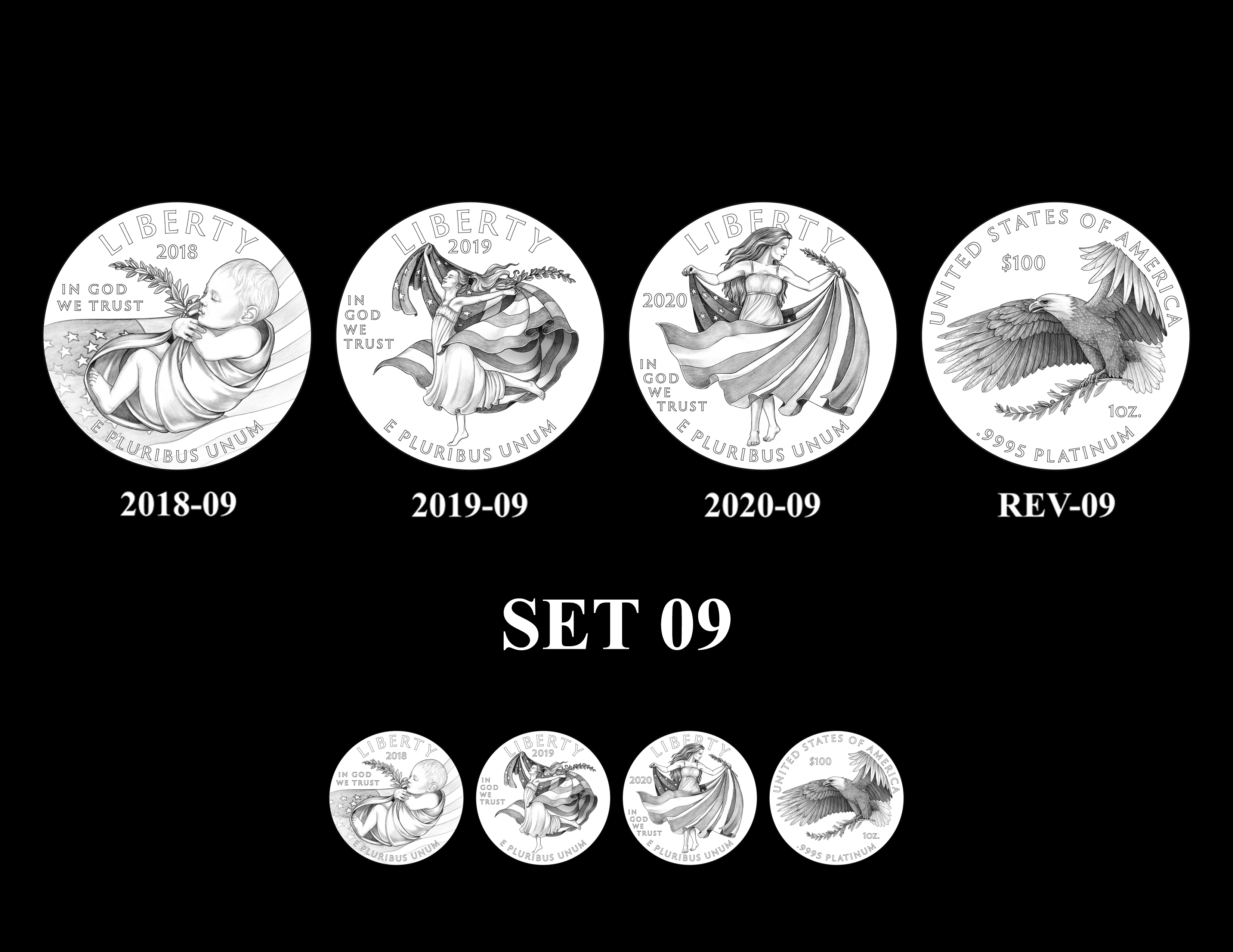 SET 09 - 2018 2019 and 2020 American Eagle Platinum Proof Program