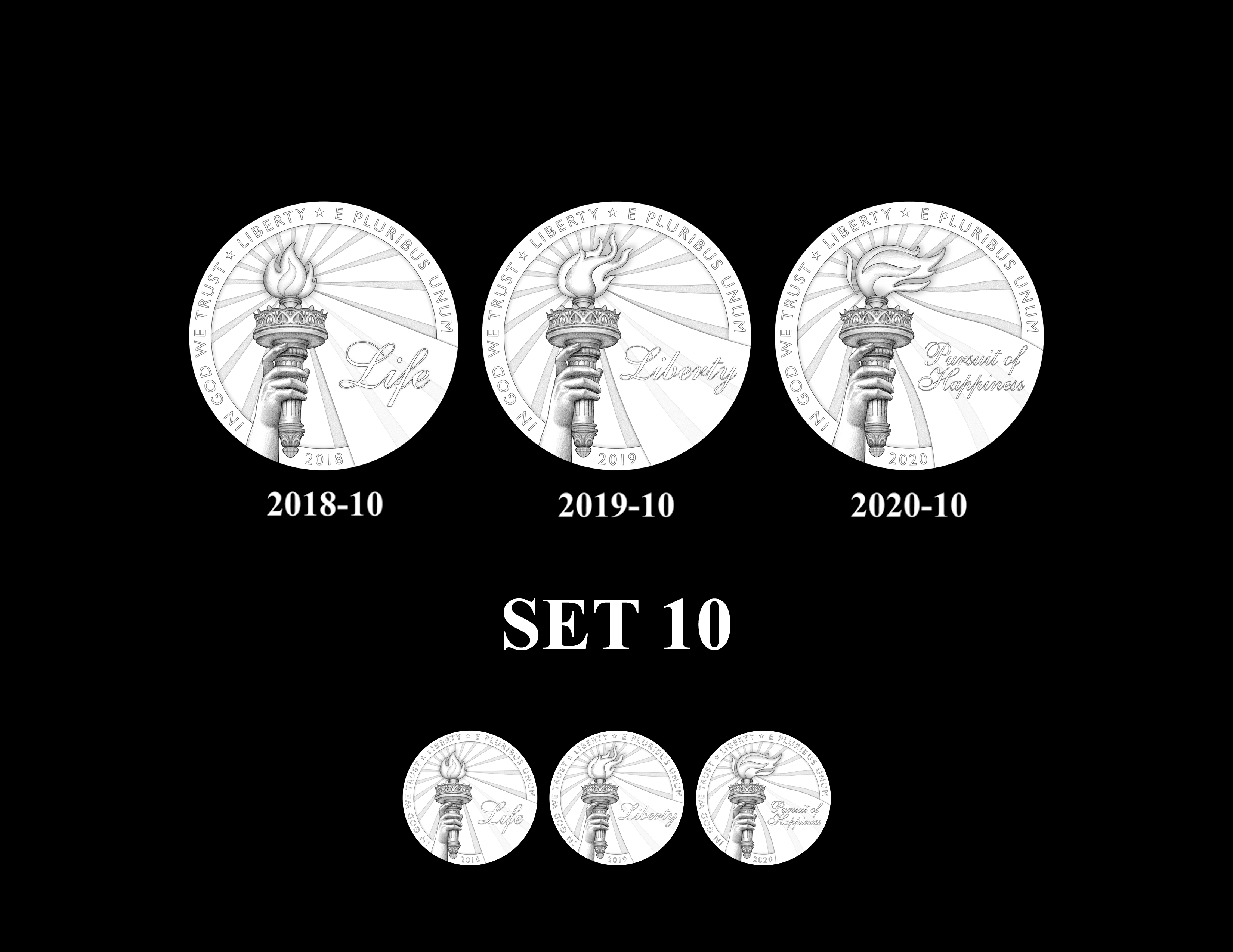 SET 10 - 2018 2019 and 2020 American Eagle Platinum Proof Program