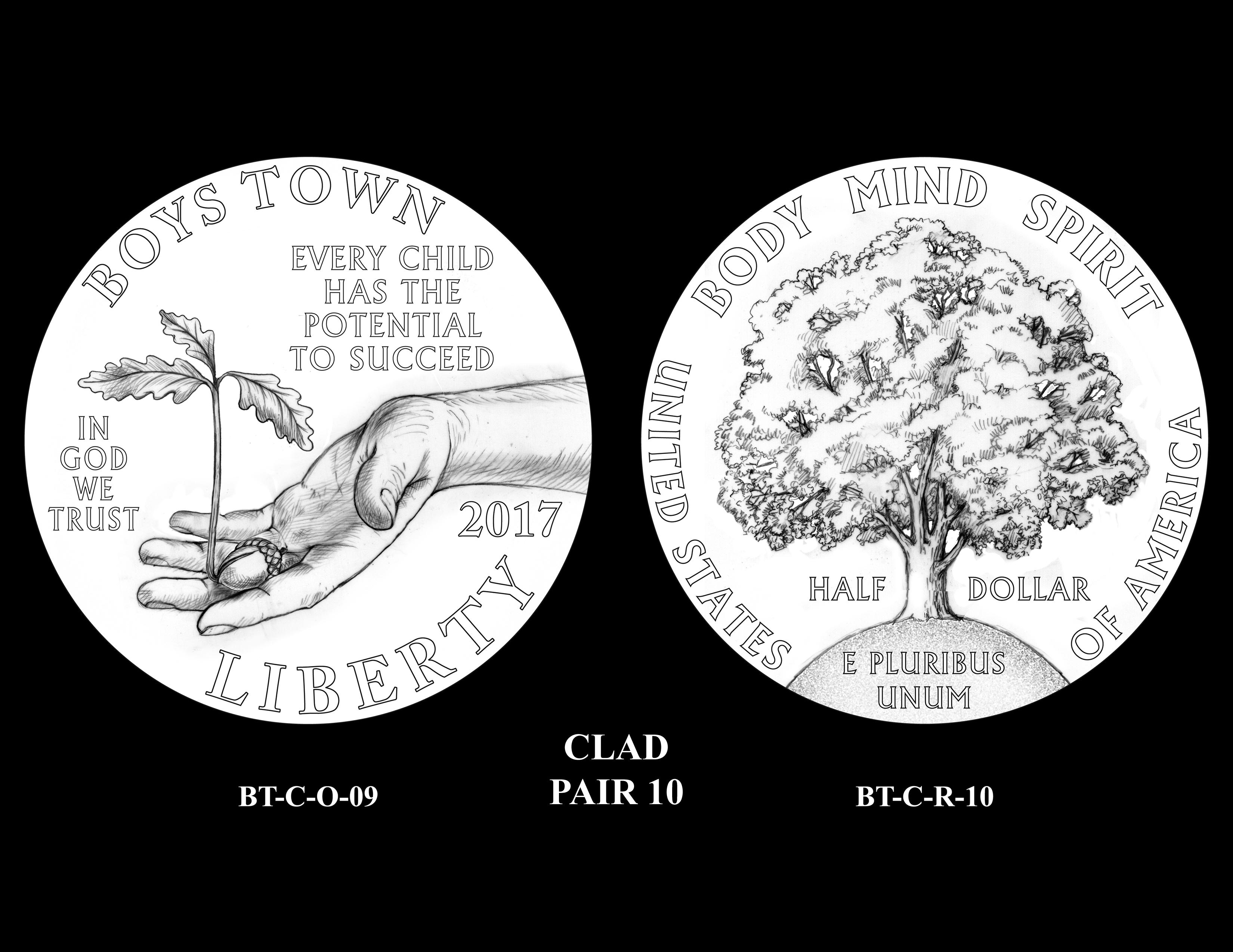 Clad-Pair-10 -- 2017 Boystown Centennial Commemorative Coin  Program