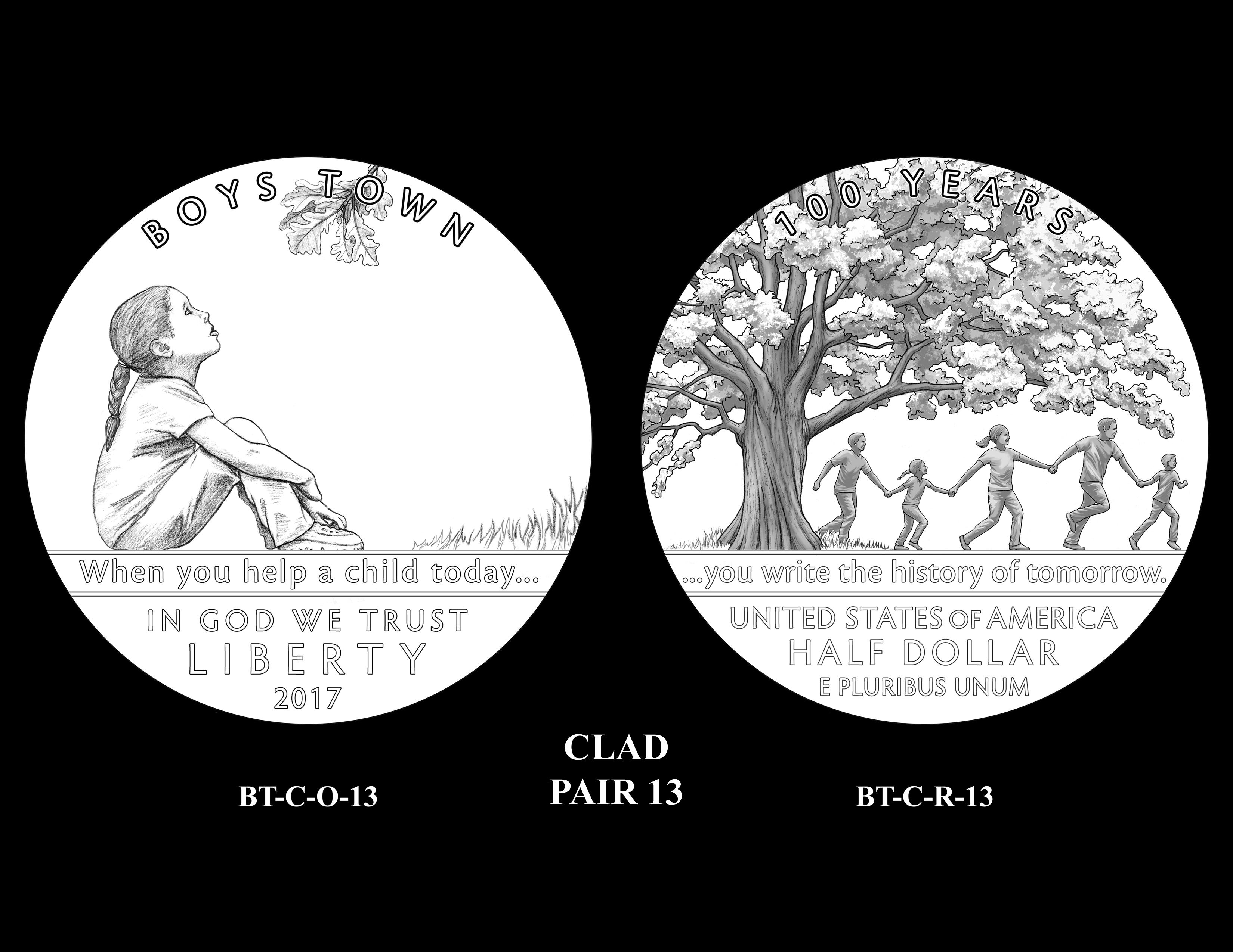 Clad-Pair-13 -- 2017 Boystown Centennial Commemorative Coin  Program
