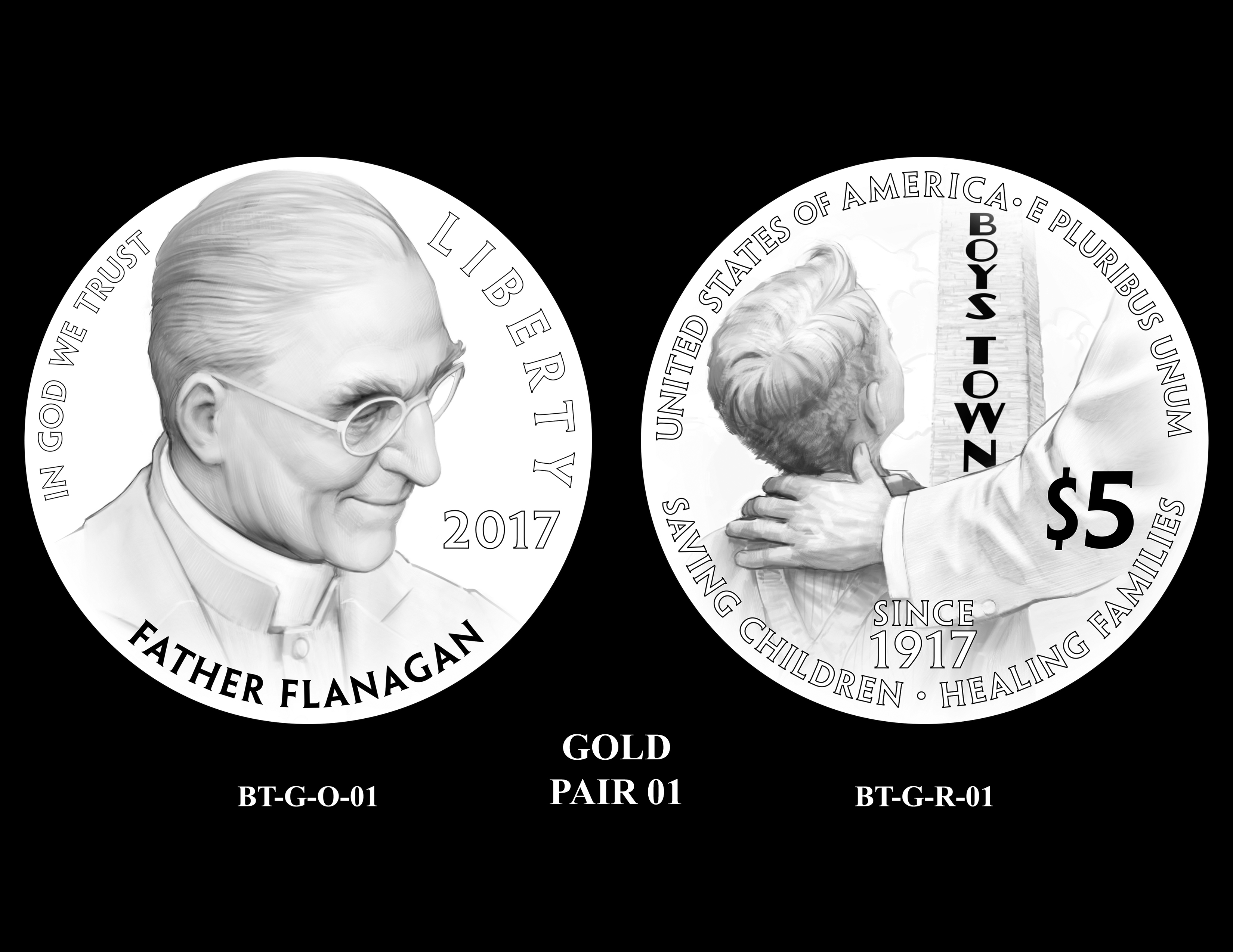 Gold-Pair-01 -- 2017 Boystown Centennial Commemorative Coin  Program