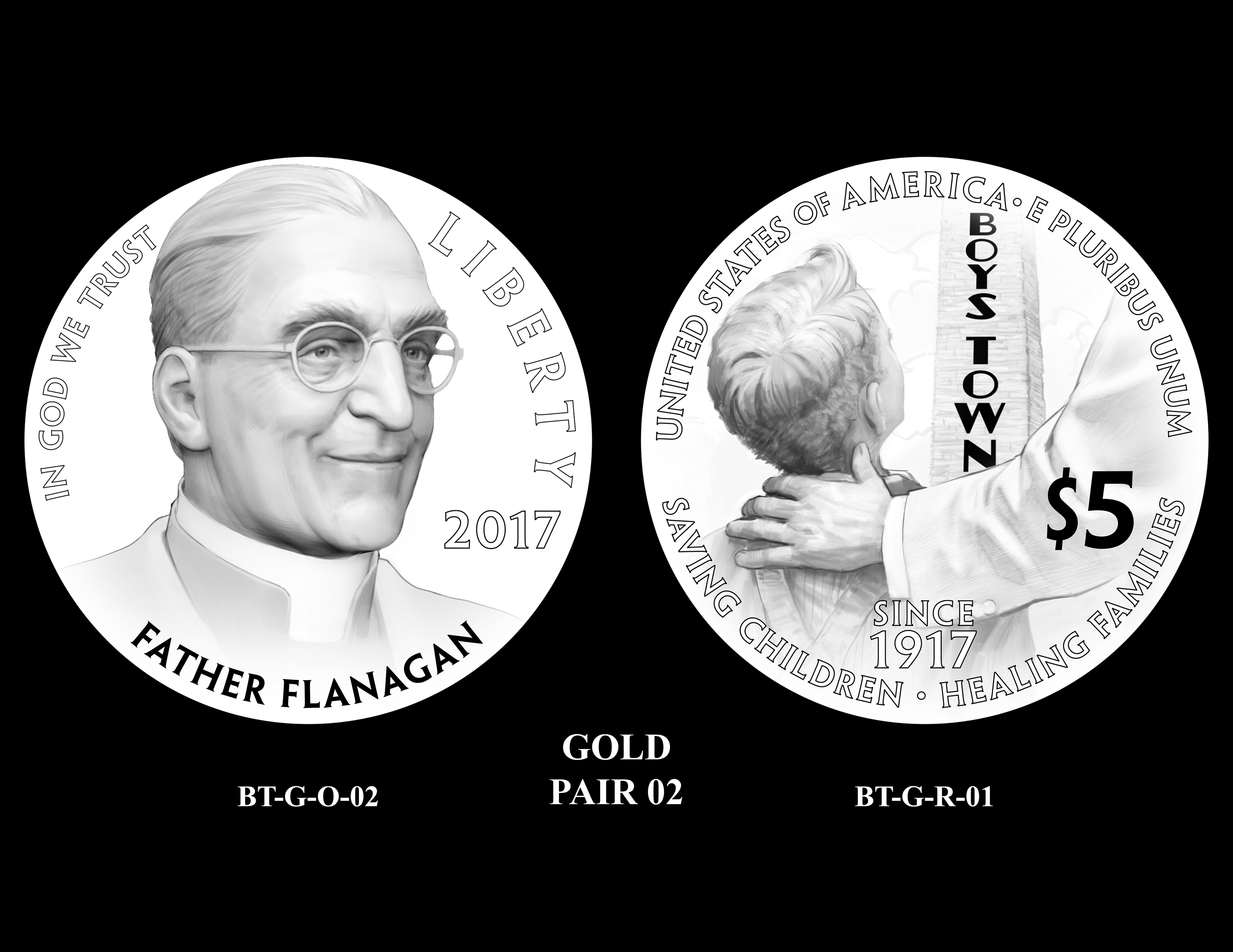 Gold-Pair-02 -- 2017 Boystown Centennial Commemorative Coin  Program
