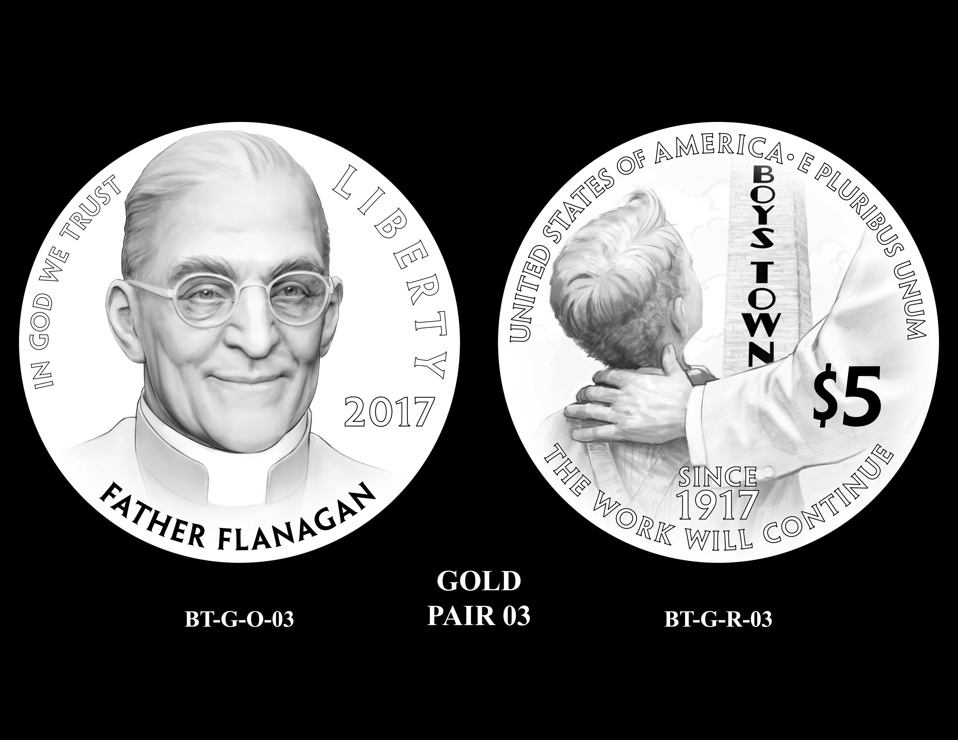 Gold-Pair-03 -- 2017 Boystown Centennial Commemorative Coin  Program