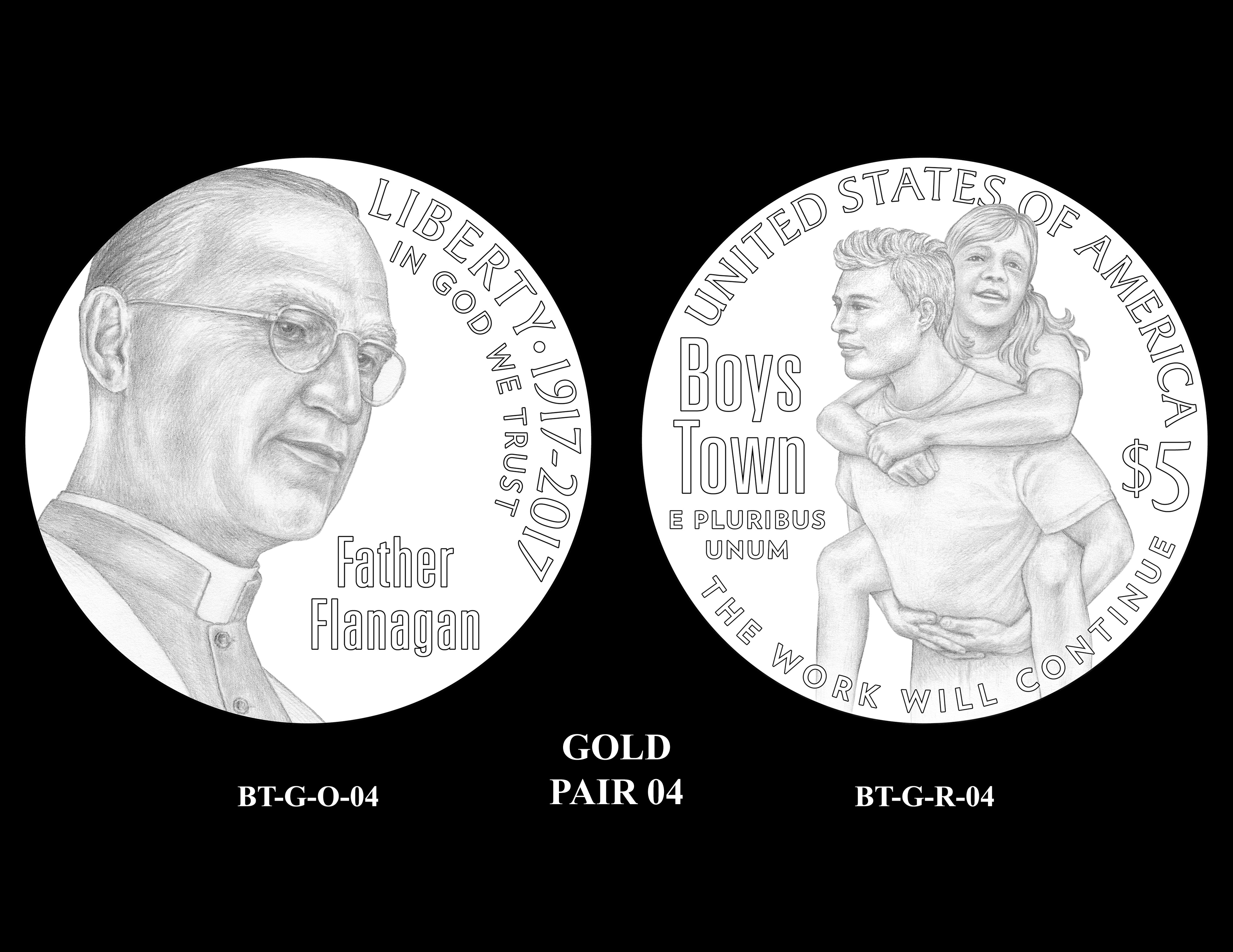 Gold-Pair-04 -- 2017 Boystown Centennial Commemorative Coin  Program