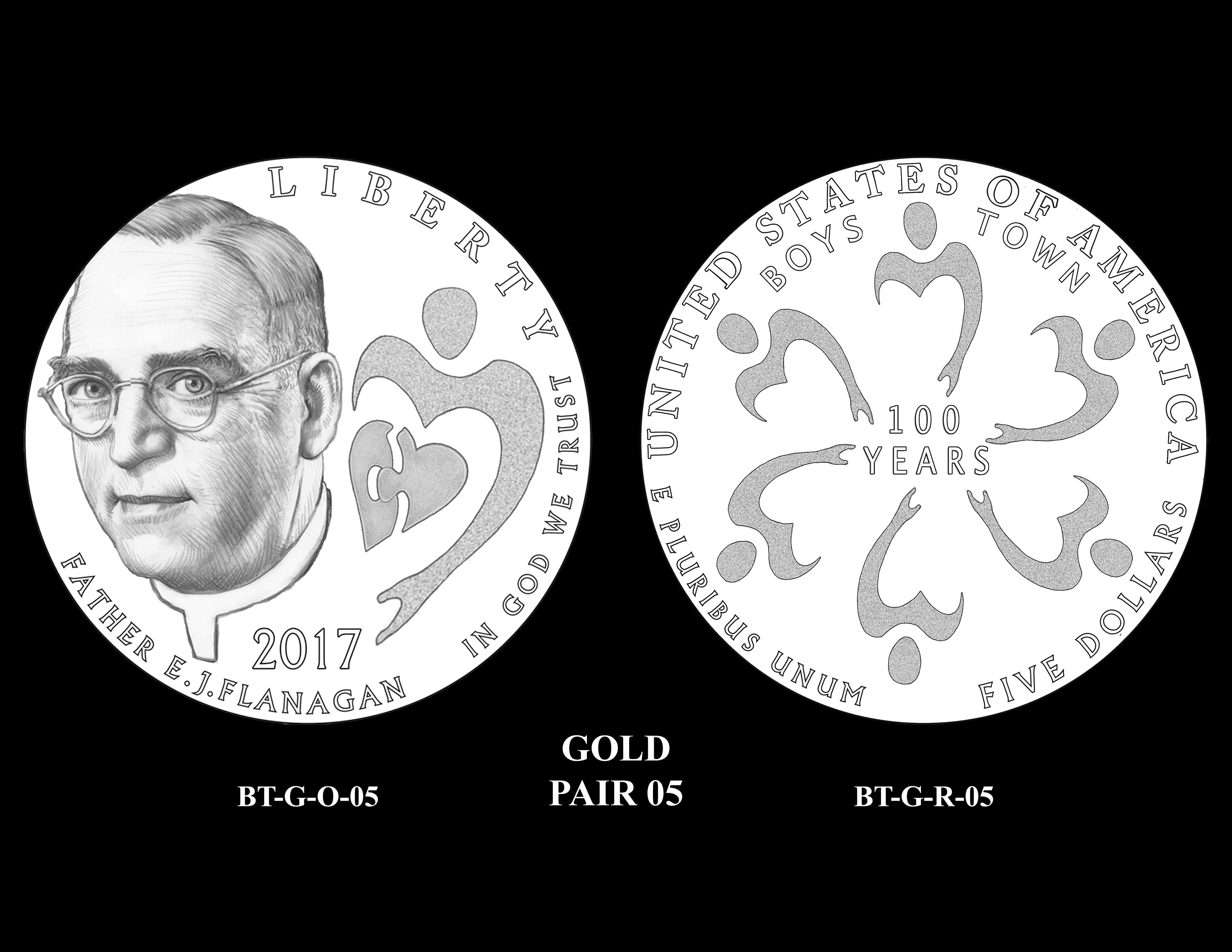 Gold-Pair-05 -- 2017 Boystown Centennial Commemorative Coin  Program